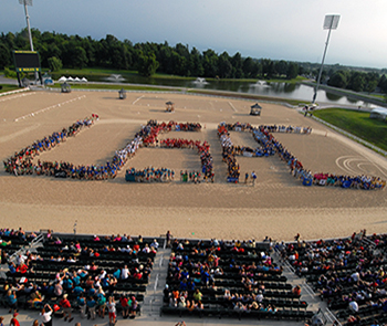 2017 Open Ceremonies with members spelled out USPC in arena